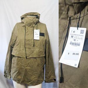 Zara pouch pocket parka army green new medium